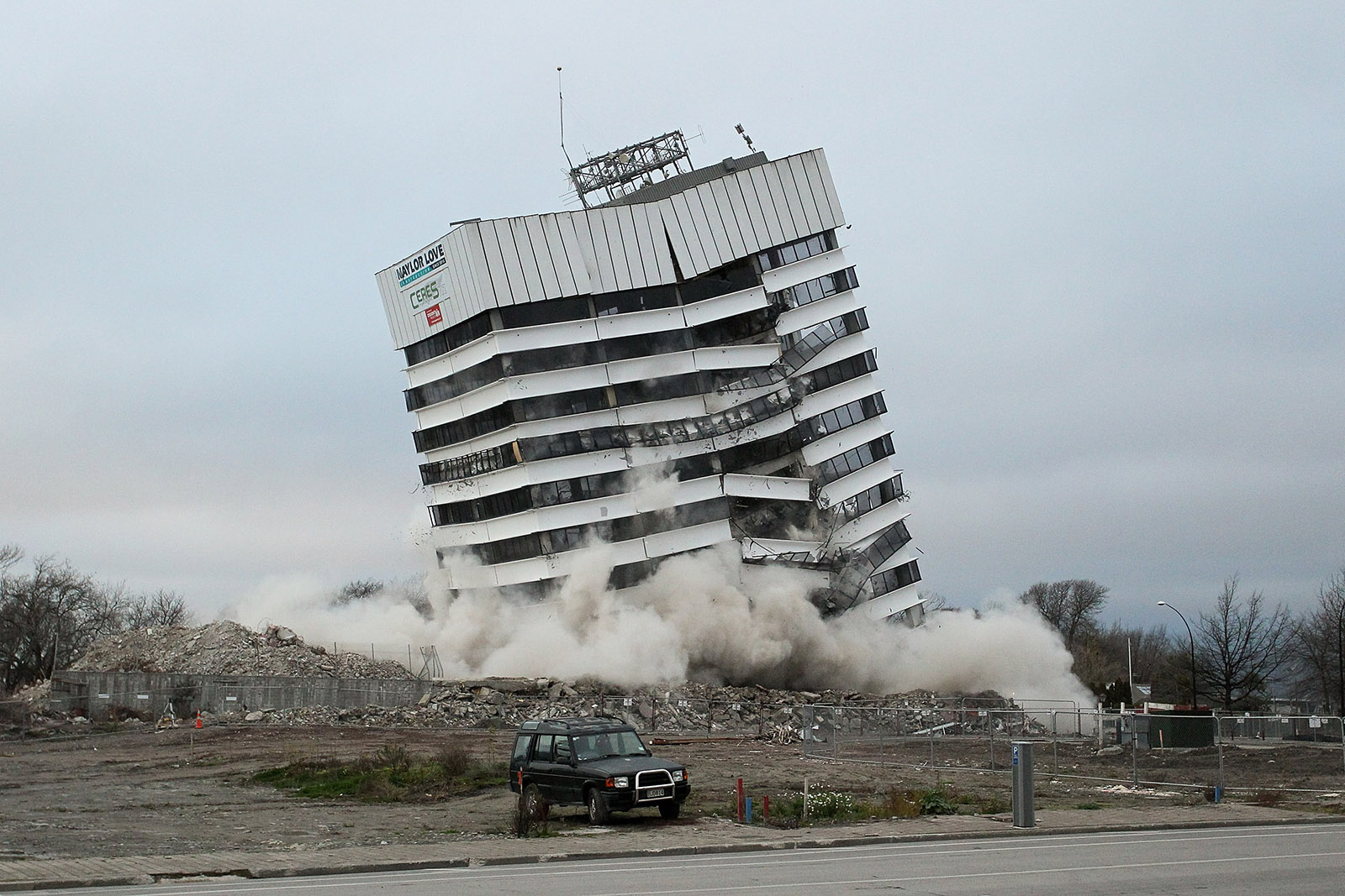 Earthquake Damaged Building Blown Up
