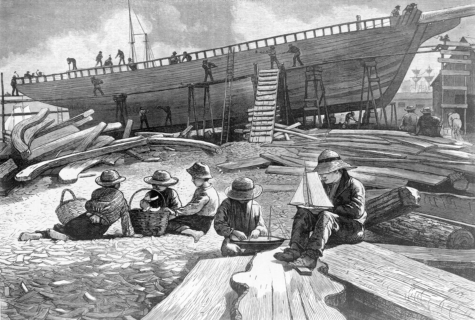 Shipbuilding, etching by Winslow Homer