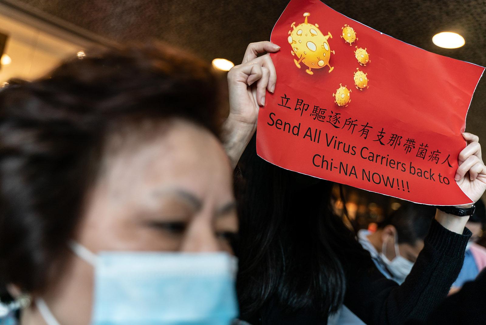 Coronavirus protesters in Hong Kong