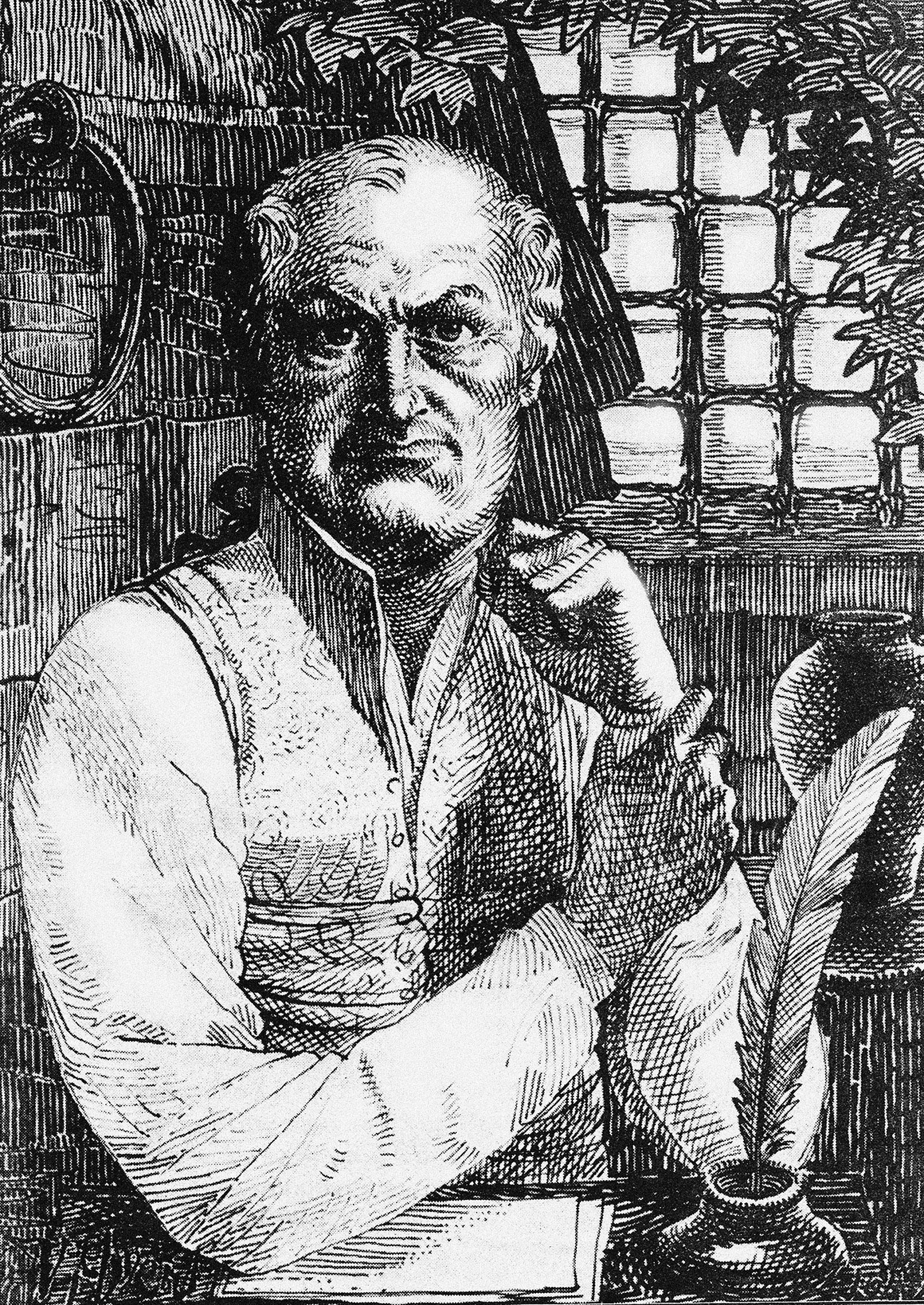 Engraving of de Sade