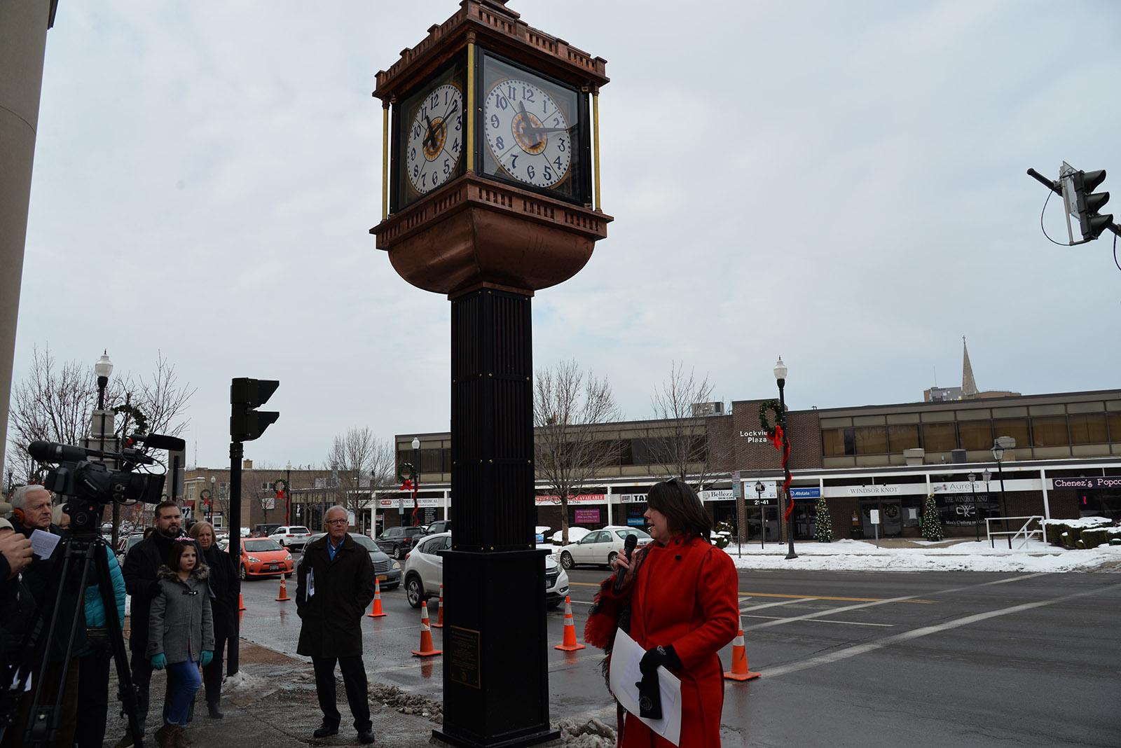 Mayor dedicating restored clock, Main Street, Lockport