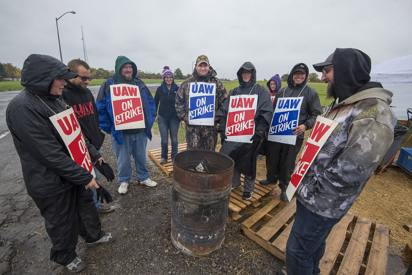Striking workers picketing Lockport's GM plant