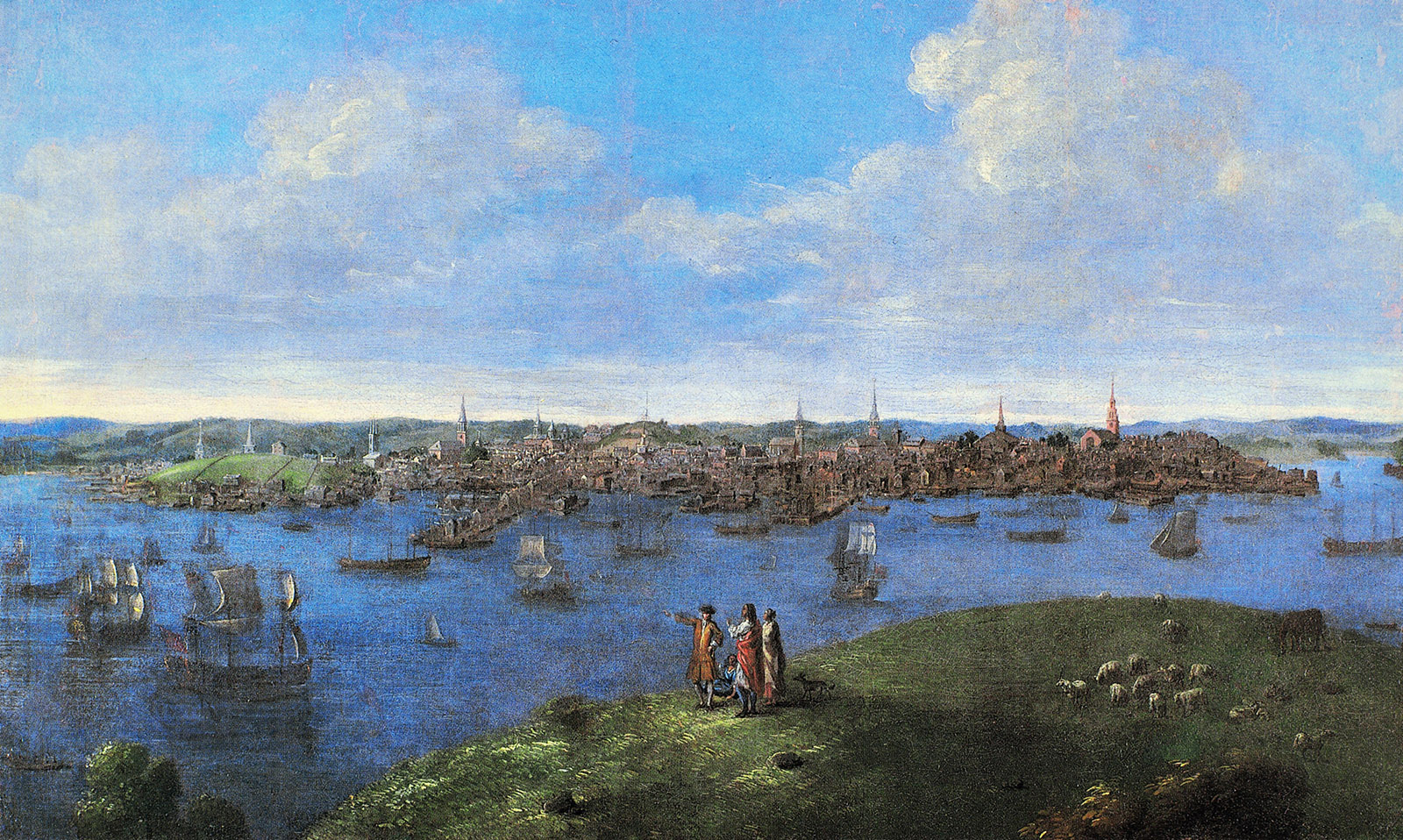 A View of Boston, 1738; painting by John Smibert