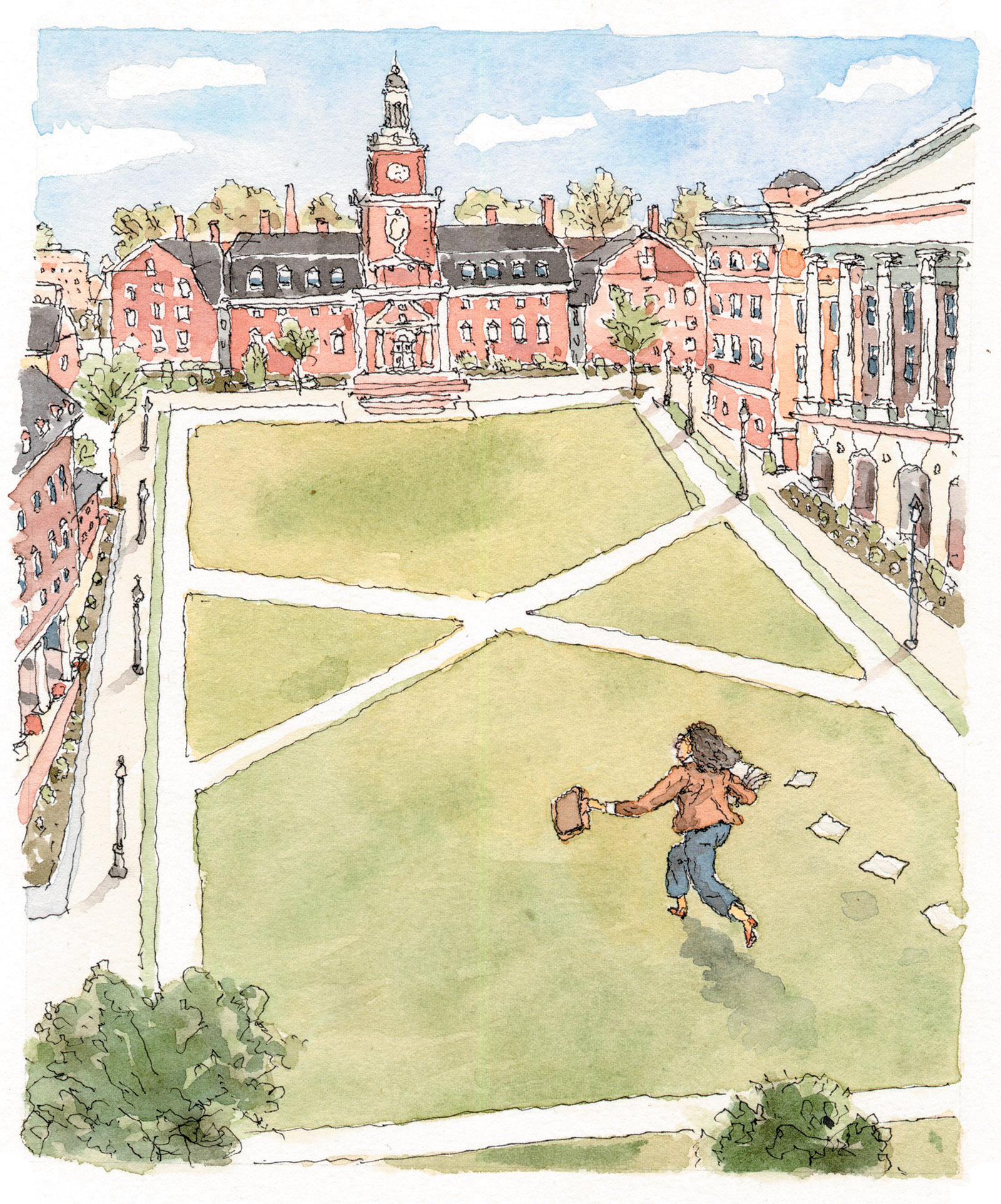 Drawing of a professor running on a college campus by John Cuneo