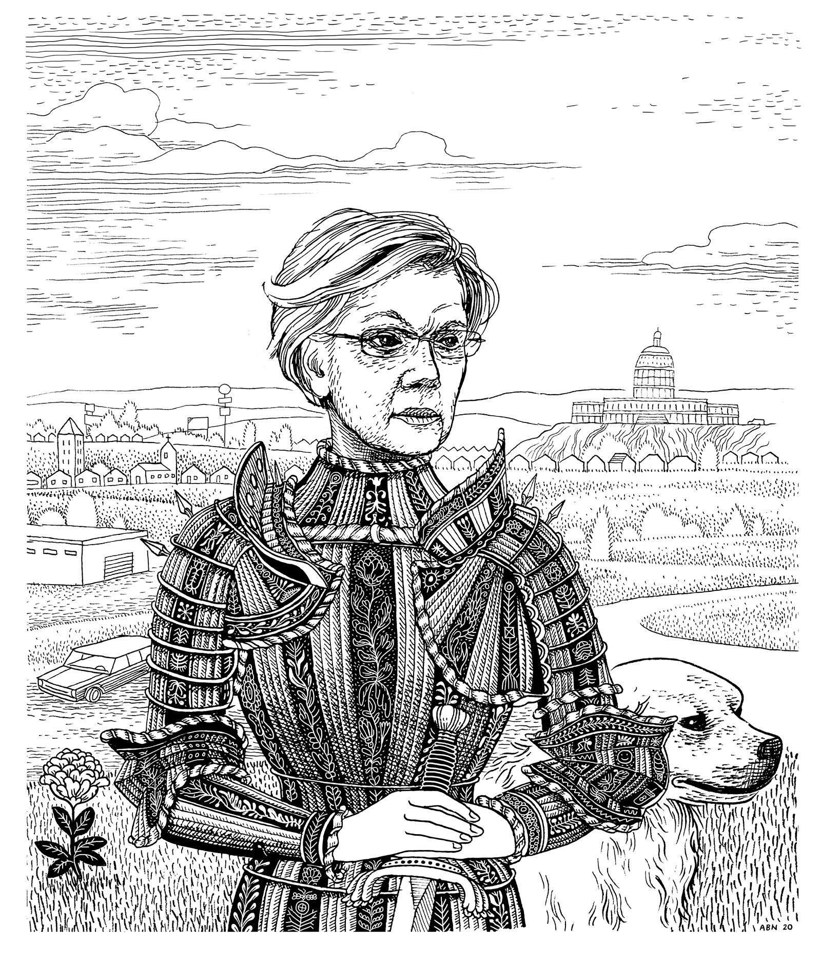 Elizabeth Warren; drawing by Anders Nilsen