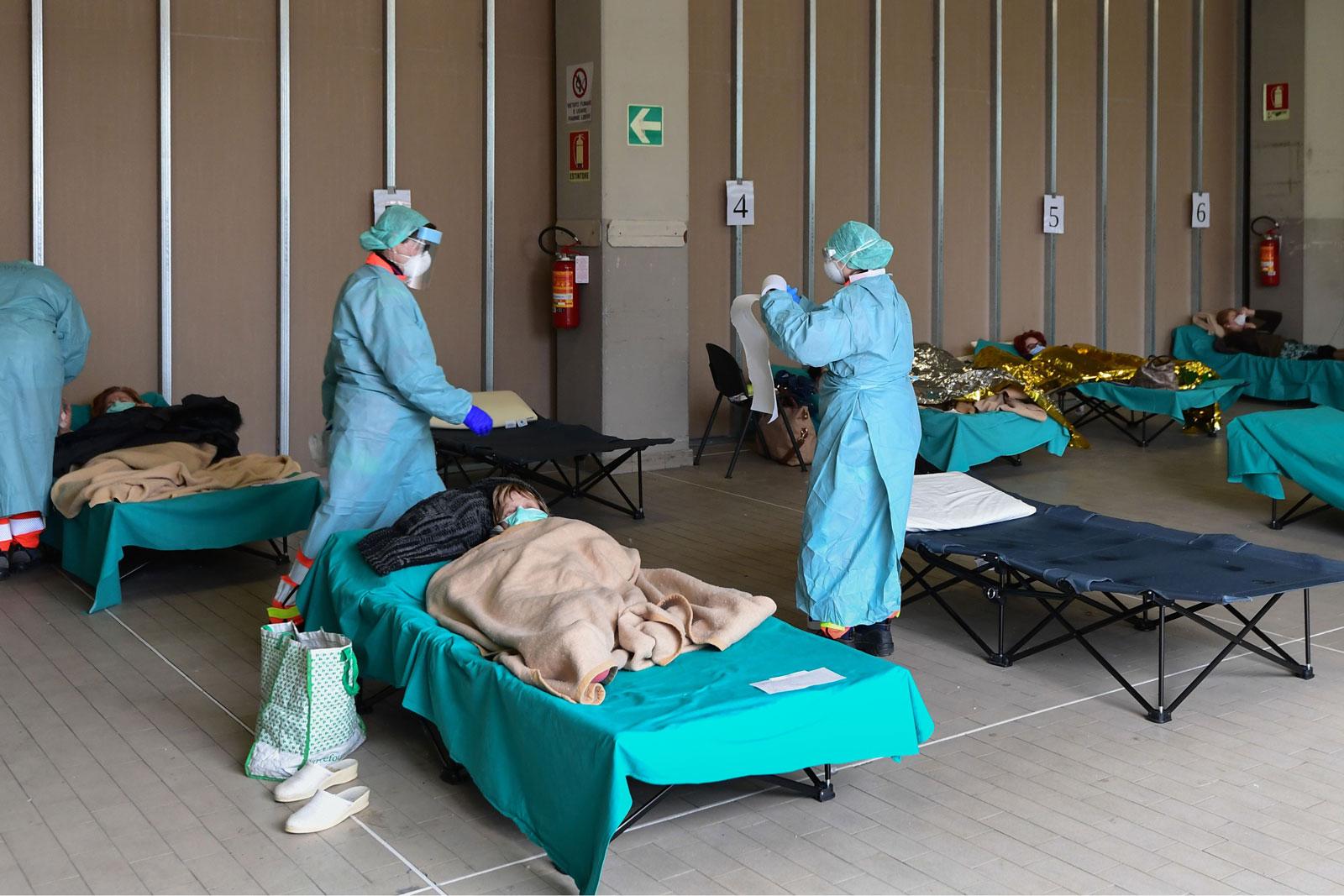Emergency coronavirus ward in Italy