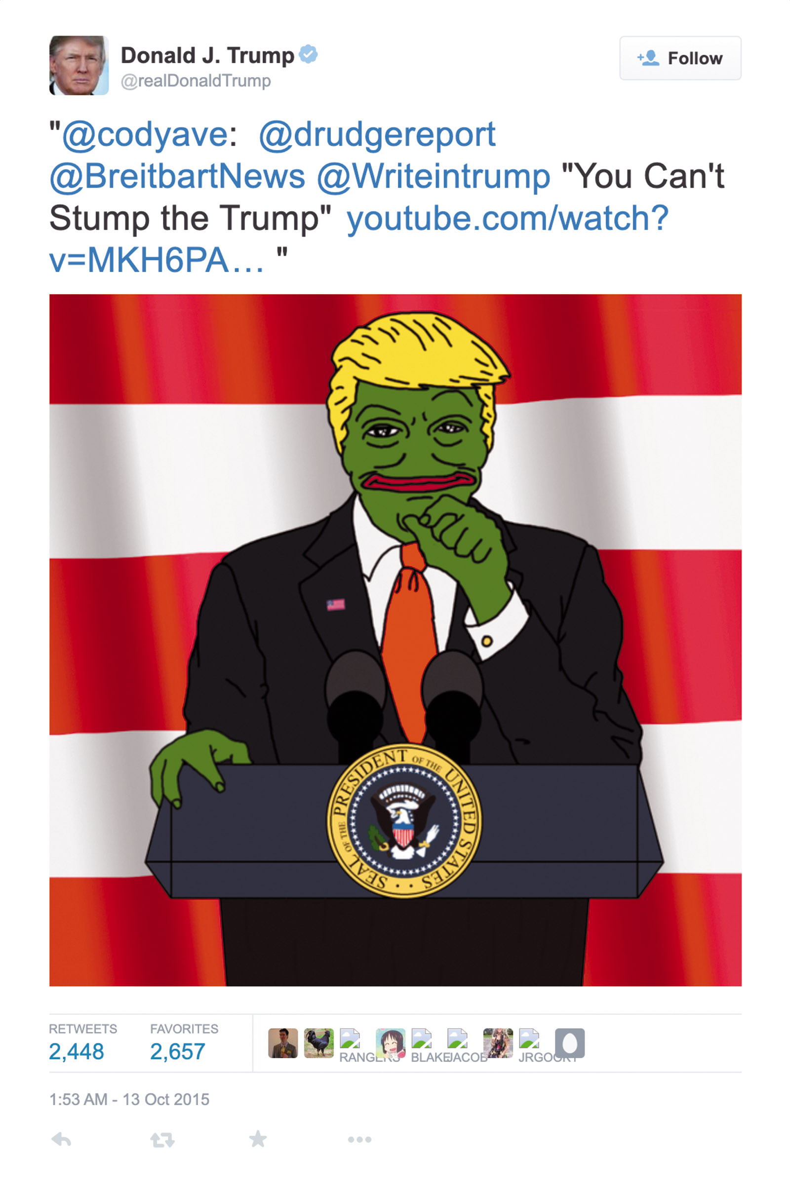 A tweet by Donald Trump featuring an image of himself as Pepe the Frog