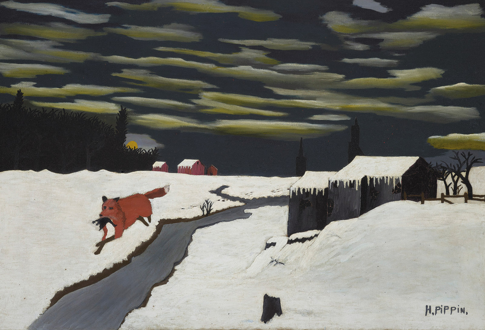 The Getaway; painting by Horace Pippin
