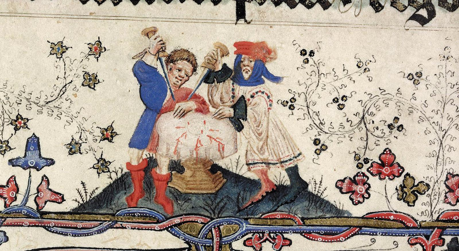 Men desecrating the host, circa 1400