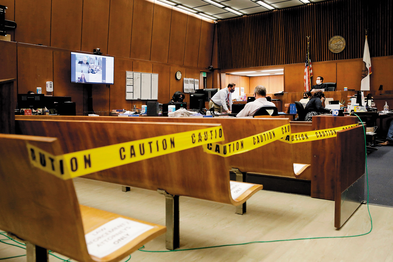A socially distanced courtroom in Los Angeles