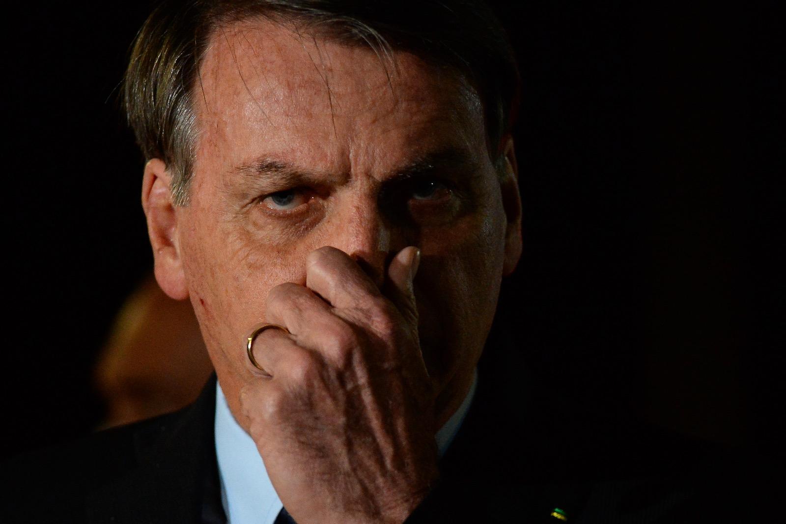 President Jair Bolsonaro during a press conference at Alvorada Palace, Brasilia, Brazil, June 5, 2020