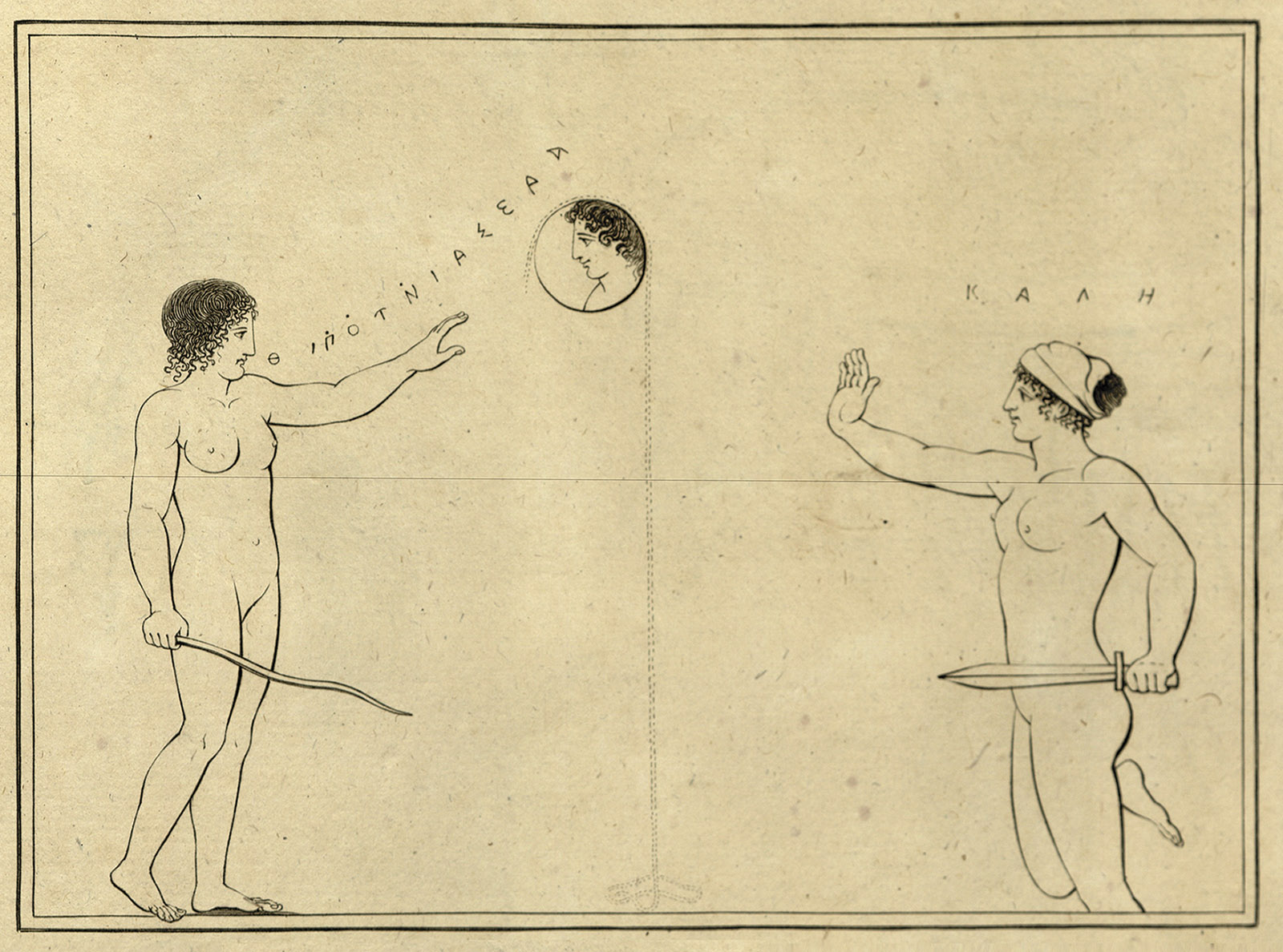 A line drawing of two women drawing down the moon