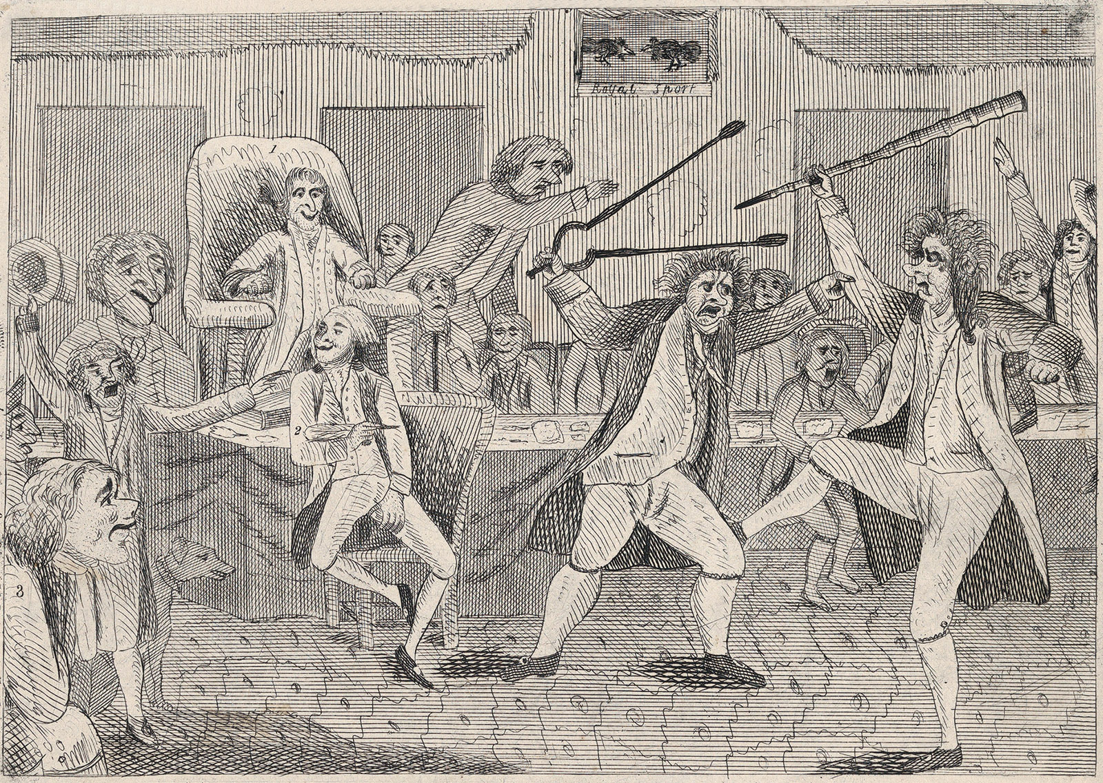 An anonymous cartoon depicting Republican and Federalist congressmen fighting on the floor of the House, 1798
