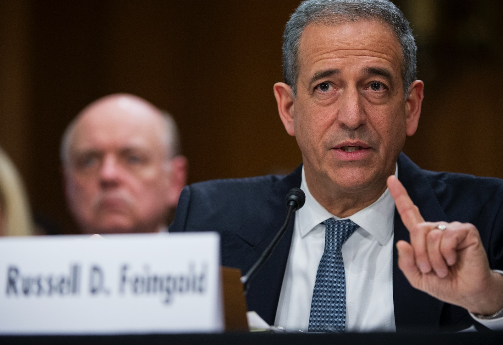 Former Senator Russ Feingold testifying to the Senate Foreign Relations Committee about his work as a special envoy for the Great Lakes Region of Africa, Capitol Hill, Washington, D.C., February 26, 2014