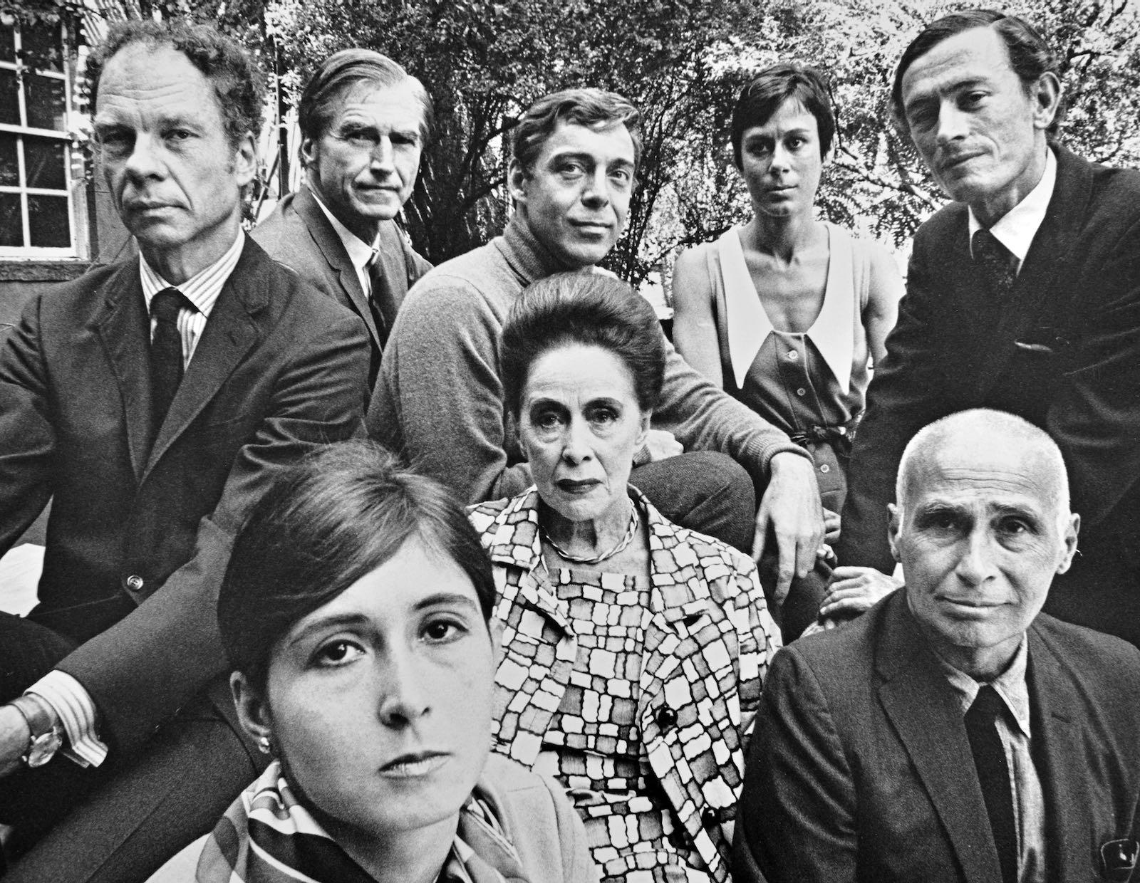 The choreographers Merce Cunningham, Twyla Tharp, Erick Hawkins, Paul Taylor, Martha Graham, Yvonne Rainer, José Limón, and Don Redlich, on the terrace of Graham's Manhattan home, New York City, 1968