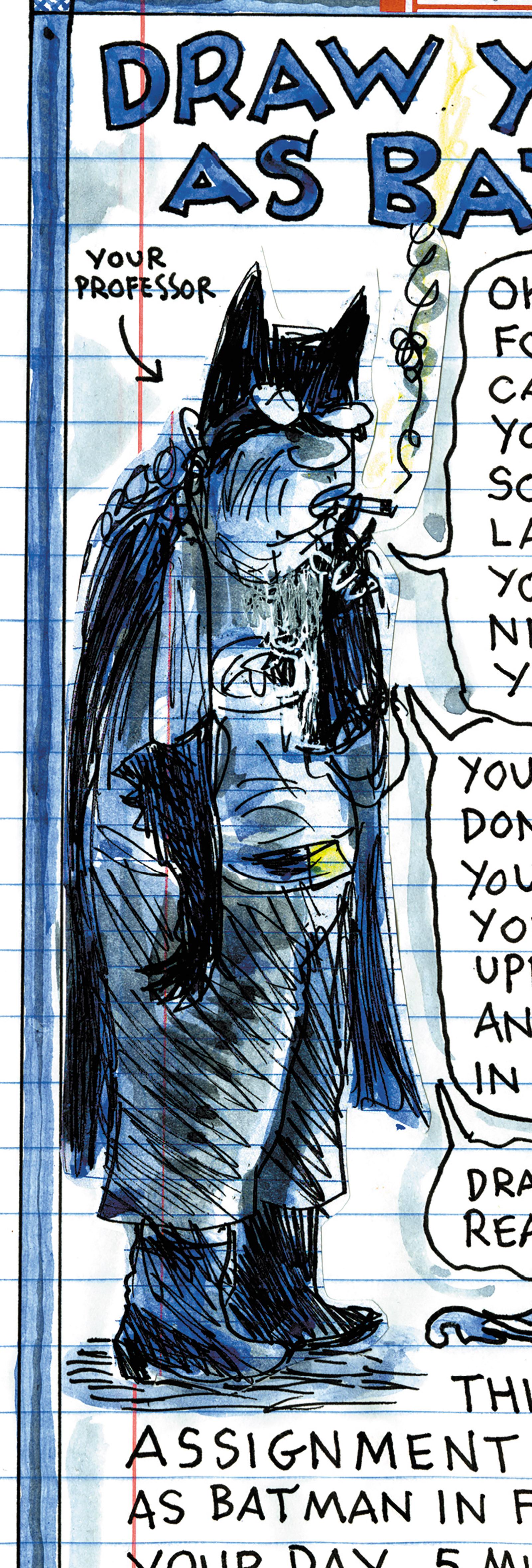 Lynda Barry's self-portrait as Batman, from Making Comics