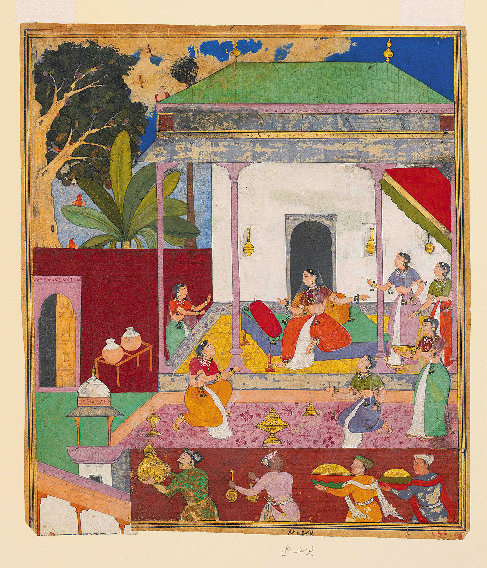 'Draupadi and Her Attendants'; illustration by Yusuf Ali from the Razmnama, a Persian translation of the Mahabharata, 1616–1617