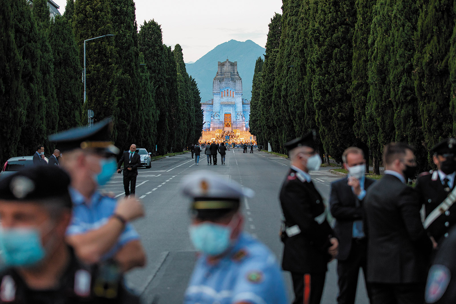 The Monumental Cemetery of Bergamo during a performance of Donizetti's Requiem in memory of Covid-19 victims, Bergamo, Italy, June 2020