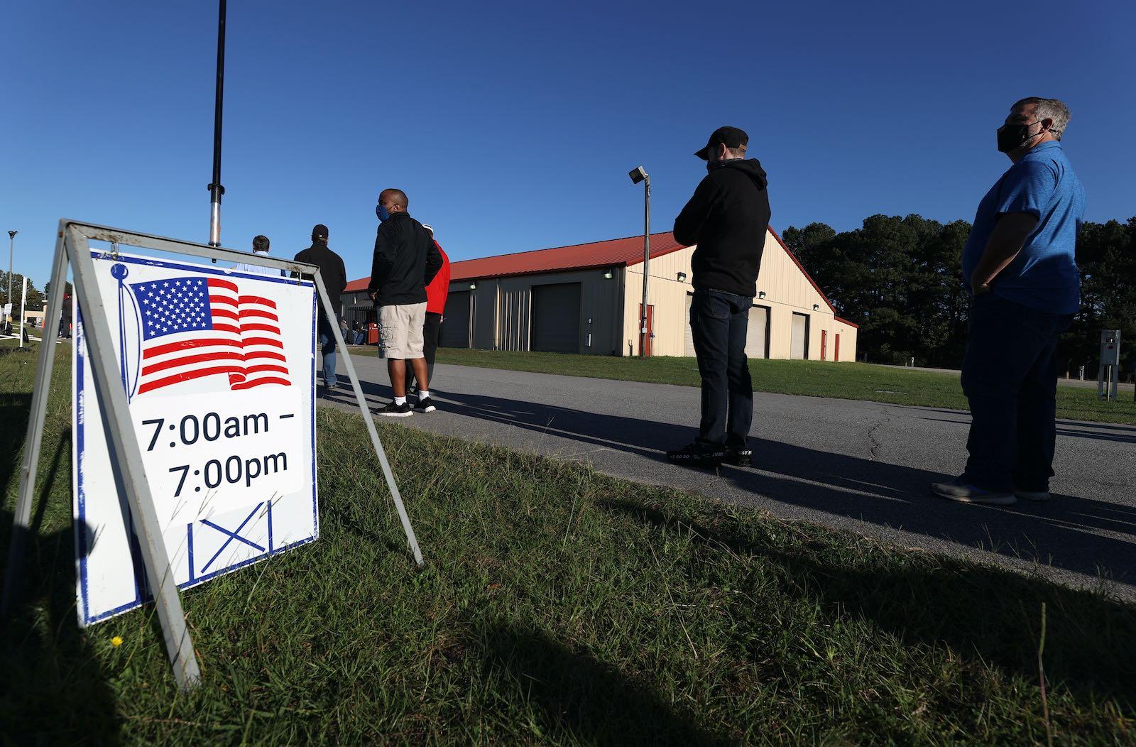Voters waiting in line, Georgia, 2020