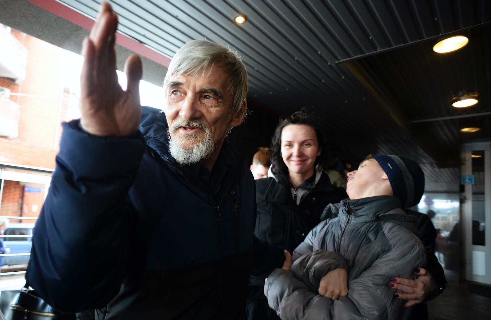 Gulag historian Yuri Dmitriev following his first trial, in which charges of child pornography were dismissed, Petrozavodsk, Russia, April 5, 2018