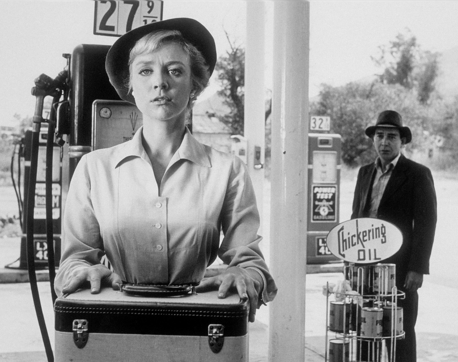 Inger Stevens and Leonard Strong in 'The Hitch-Hiker,' an episode of The Twilight Zone