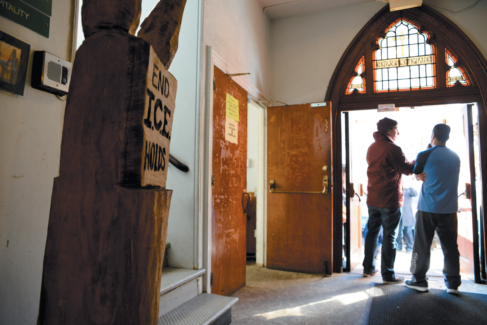 Supporters visiting Javier Flores, an undocumented immigrant from Mexico living in sanctuary at Arch Street United Methodist Church, Philadelphia