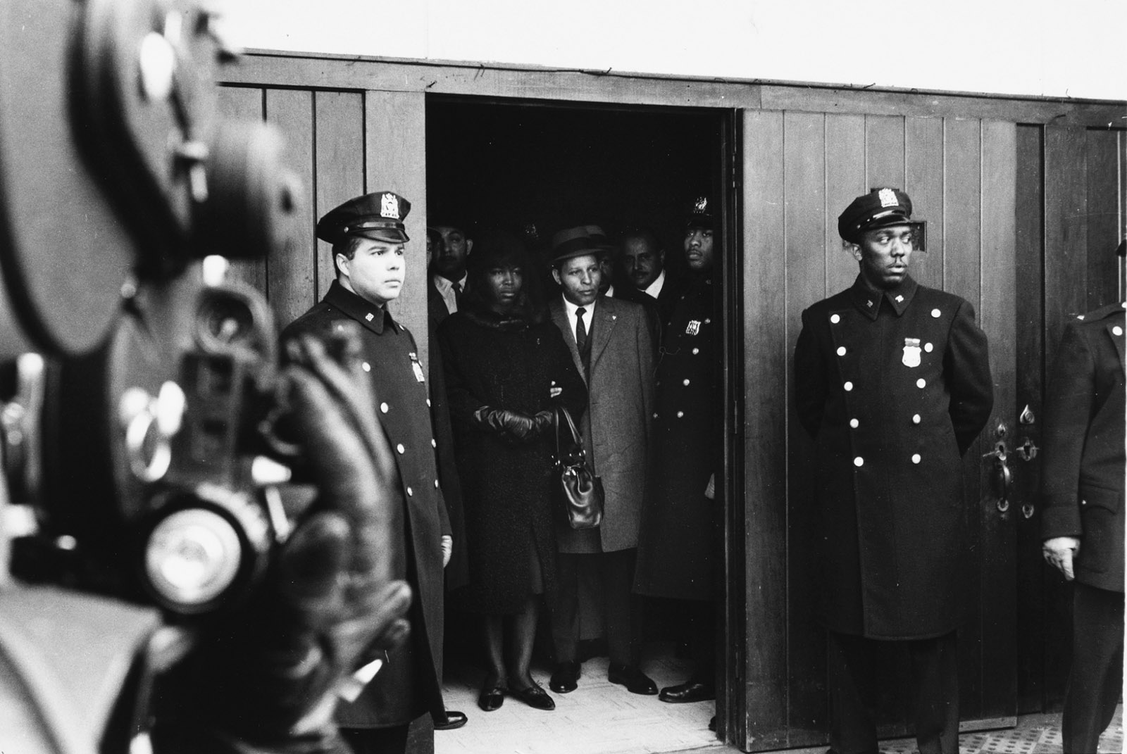 Betty Shabazz and Percy Sutton at Malcolm's Funeral, 1965