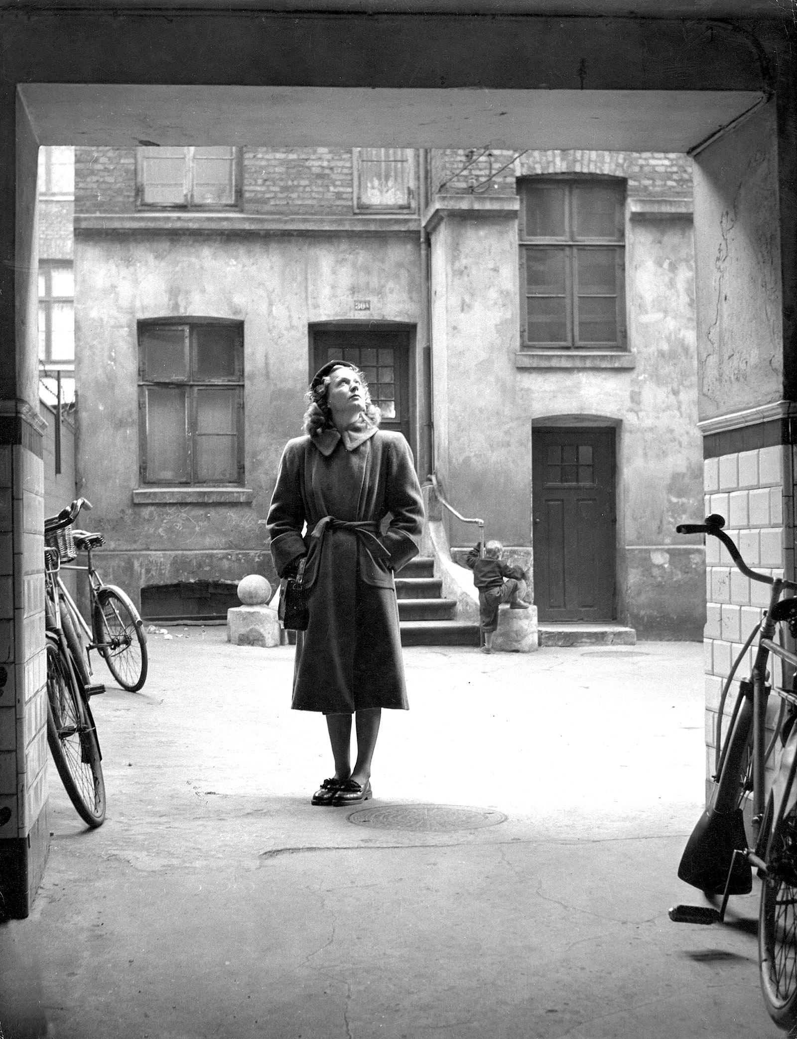 Tove Ditlevsen on her childhood street in Vesterbro, Copenhagen