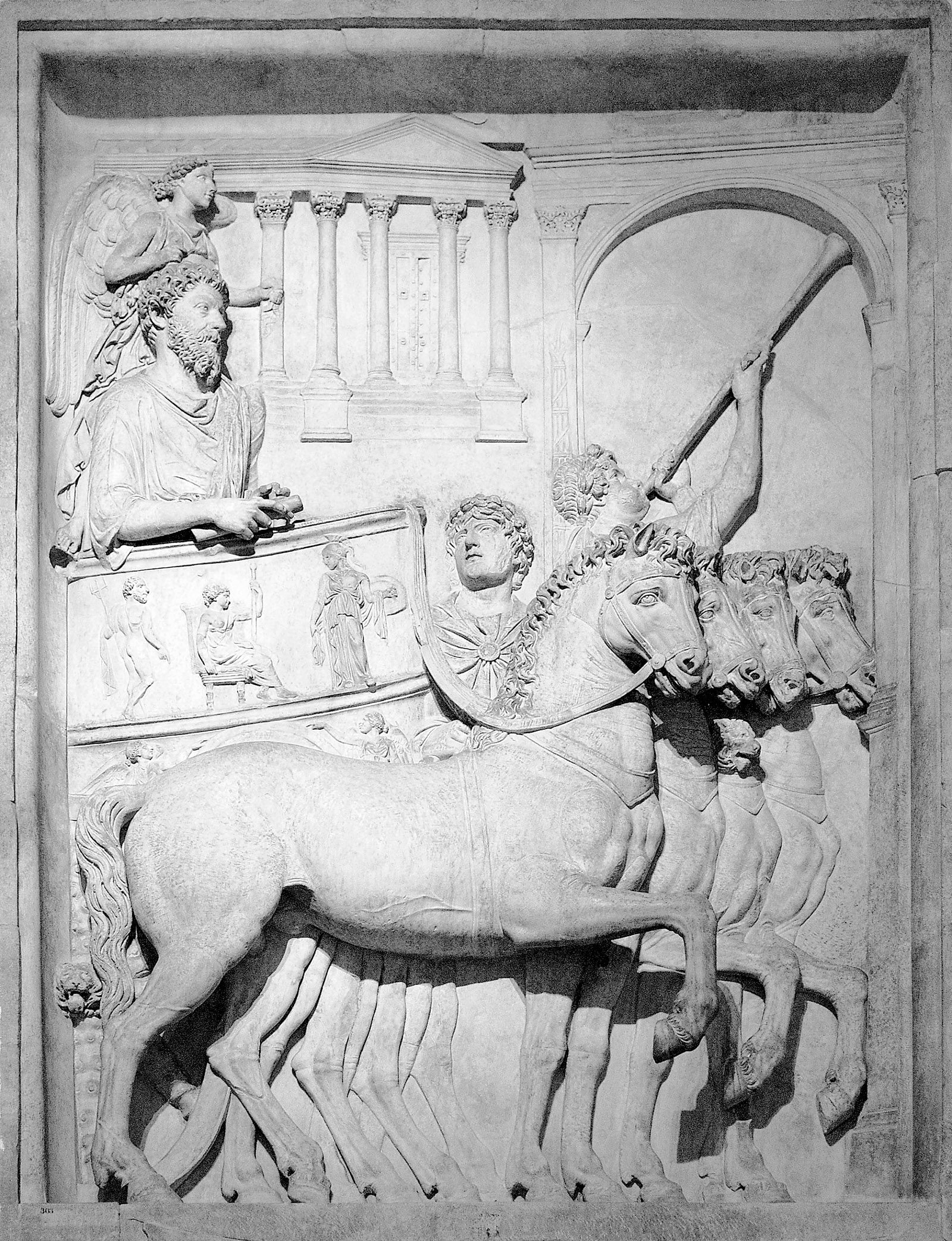 Marcus Aurelius in his chariot; bas-relief from a triumphal arch in the Roman Forum