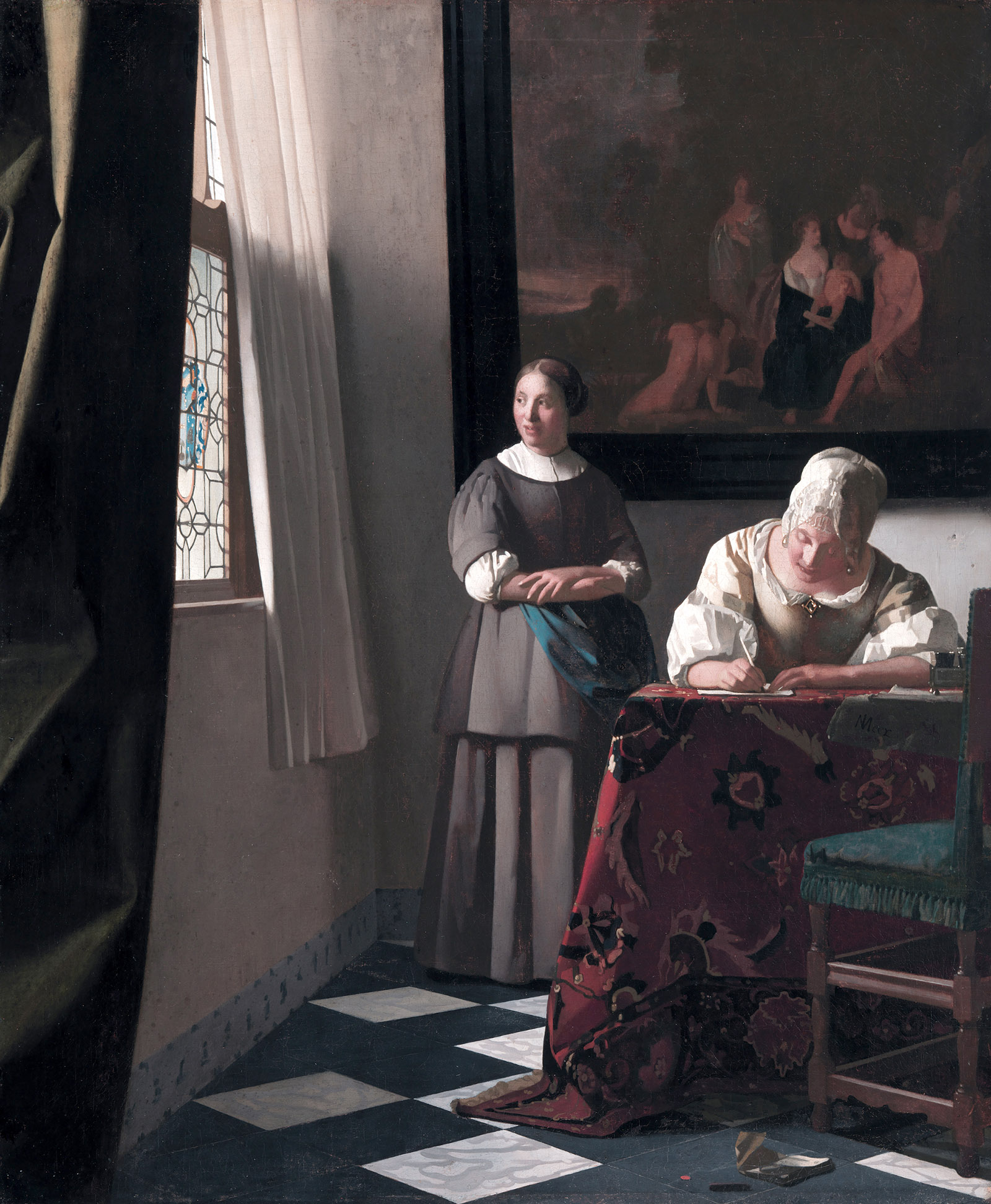 Lady Writing a Letter with Her Maid; painting by Johannes Vermeer