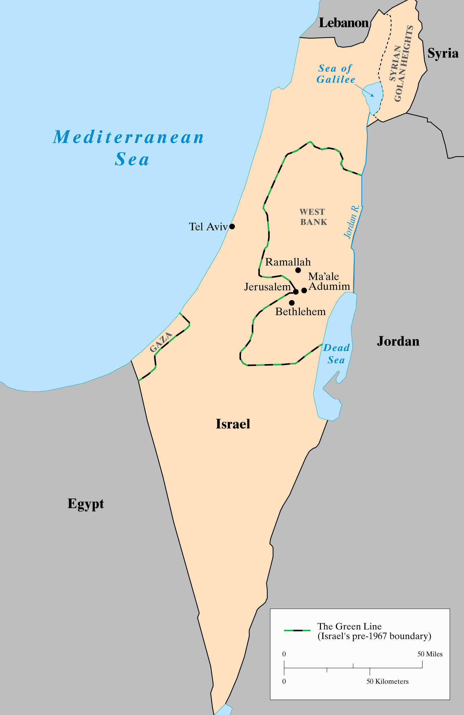 map of Israel including the Green Line