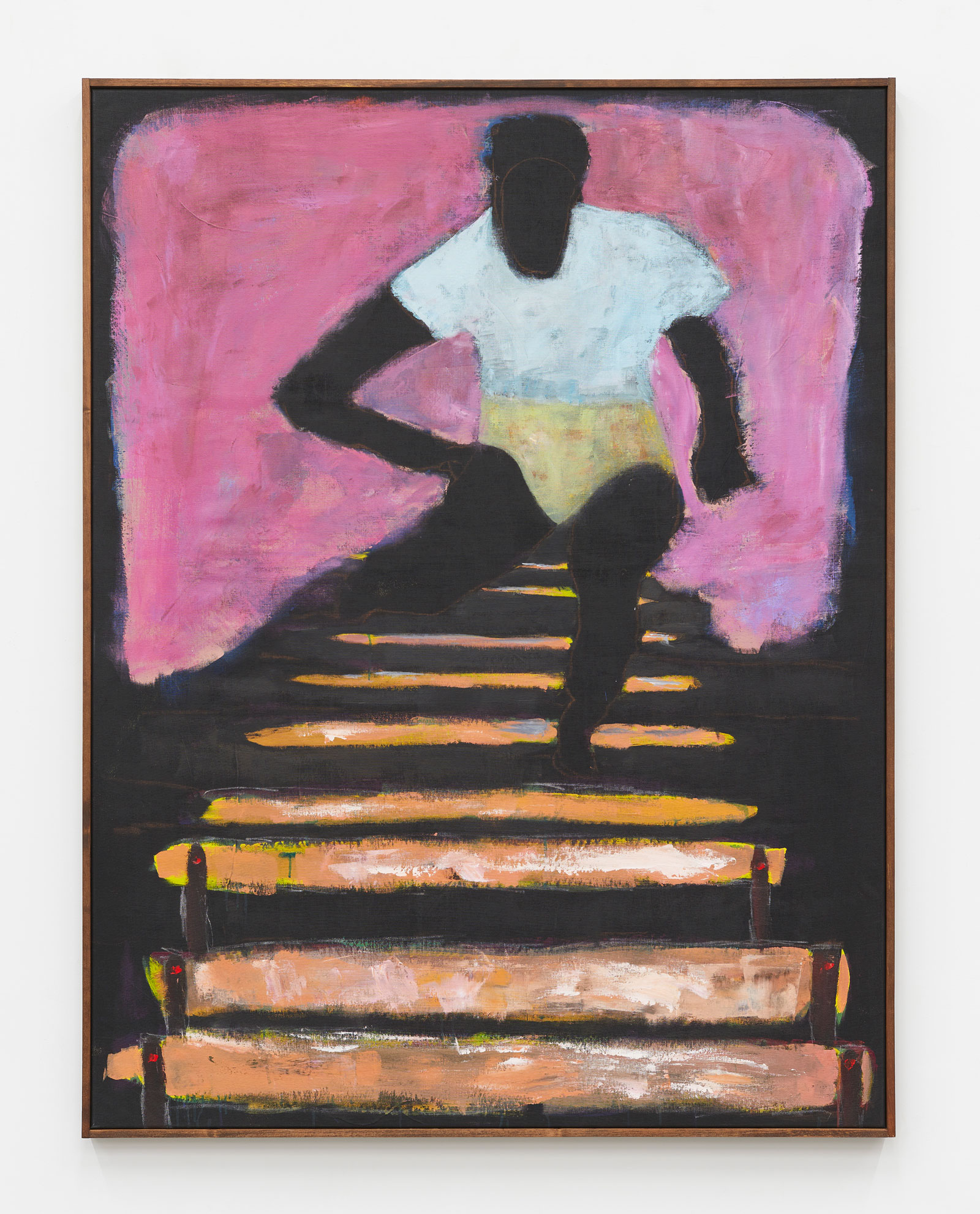 A black man jumping over hurdles with a pink background