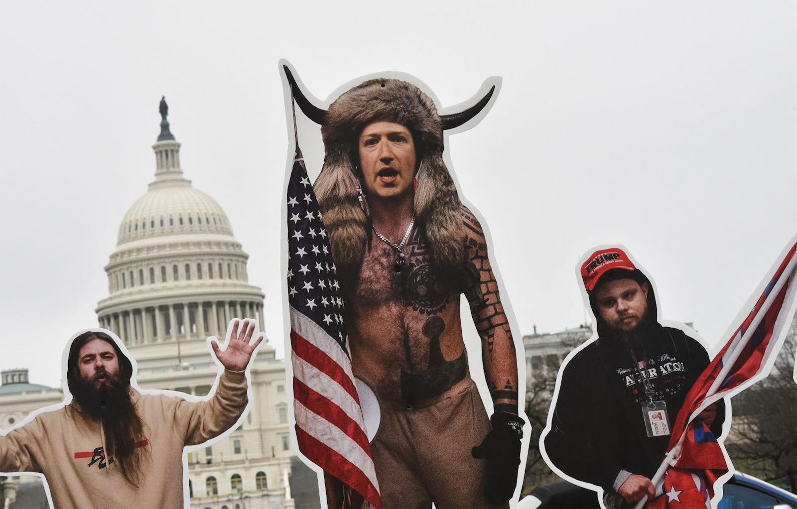Zuckerberg dressed as the QAnon shaman