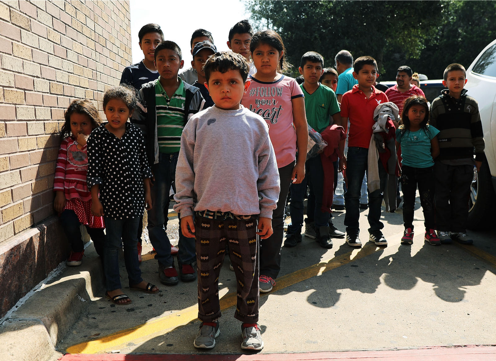 Central American migrant children waiting for assistance, McAllen, Texas, 2018