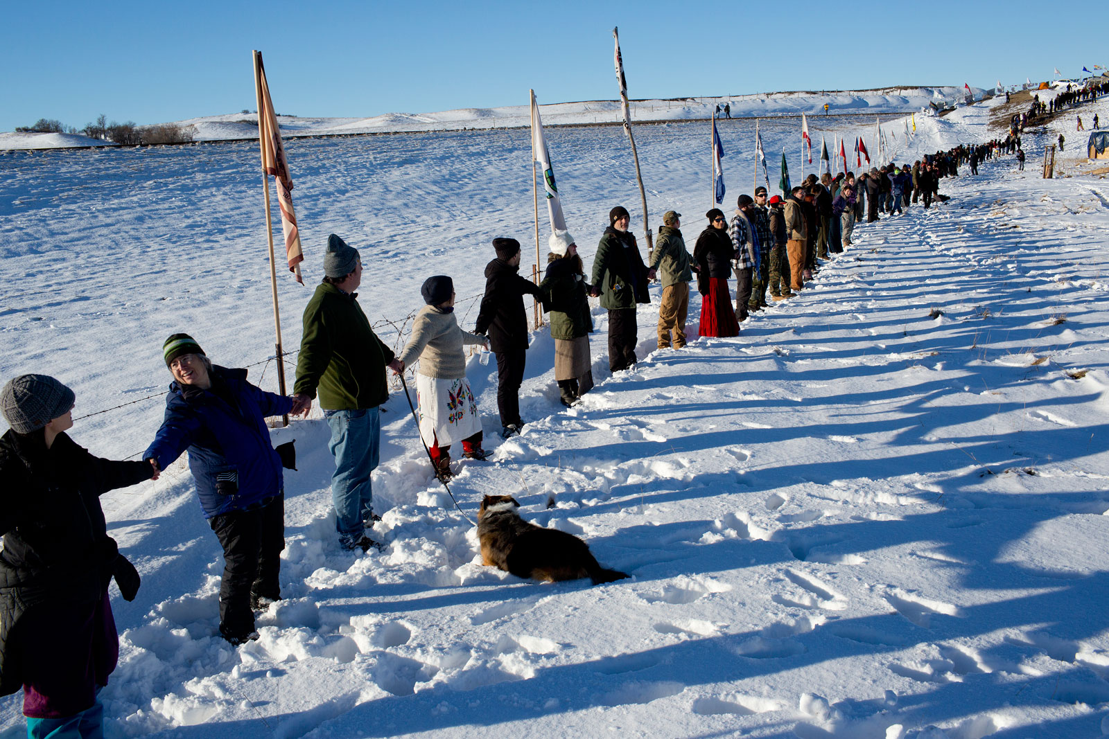A line of people holding hands in the snow, with flags