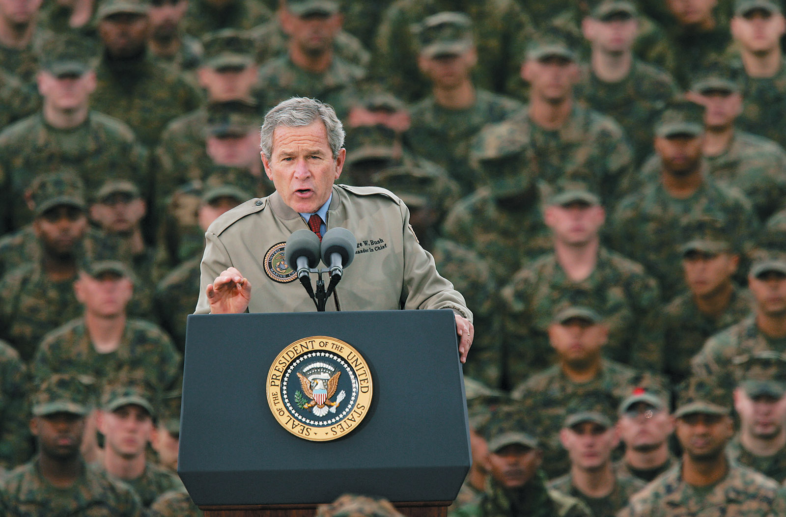 George W. Bush speaking to marines on the sixty-third anniversary of the Pearl Harbor attack, 2004