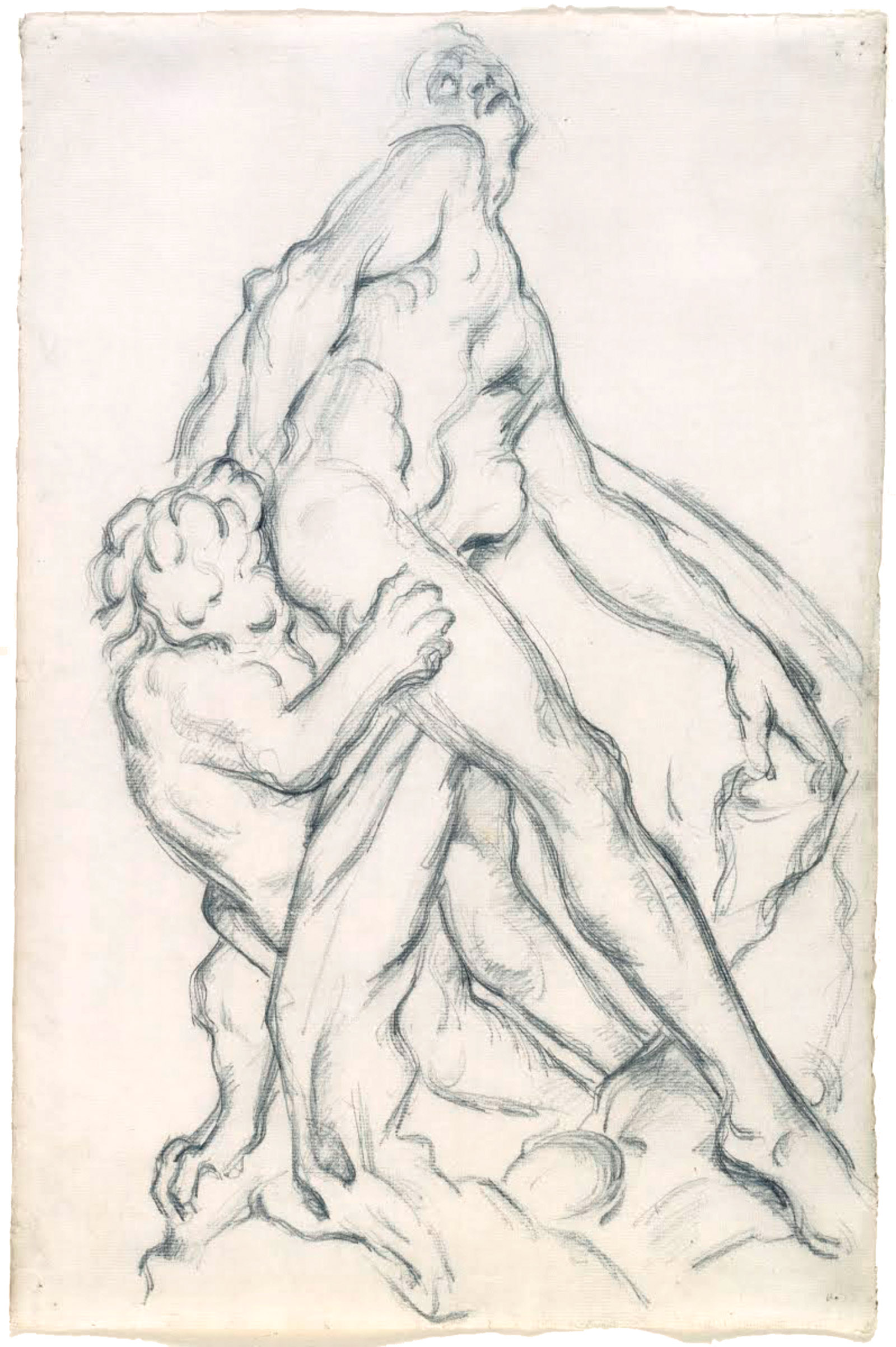 After Puget: Milo of Crotona; drawing by Paul Cézanne