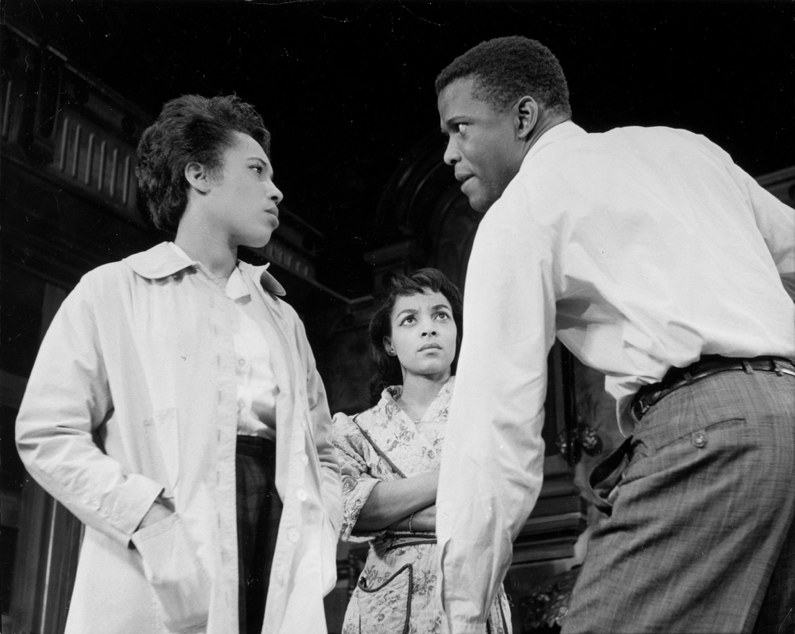 Diana Sands, Ruby Dee, and Sidney Poitier in the original Broadway production of A Raisin in the Sun
