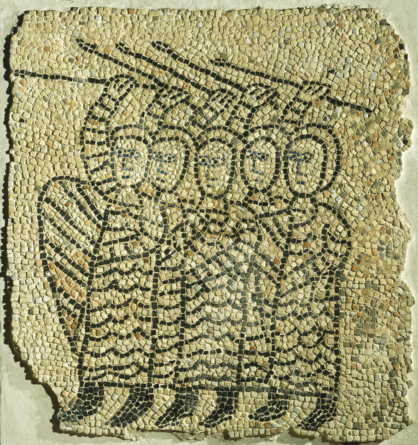 A detail of mosaic flooring depicting soldiers in the Fourth Crusade; from the Church of Saint John the Evangelist, Ravenna