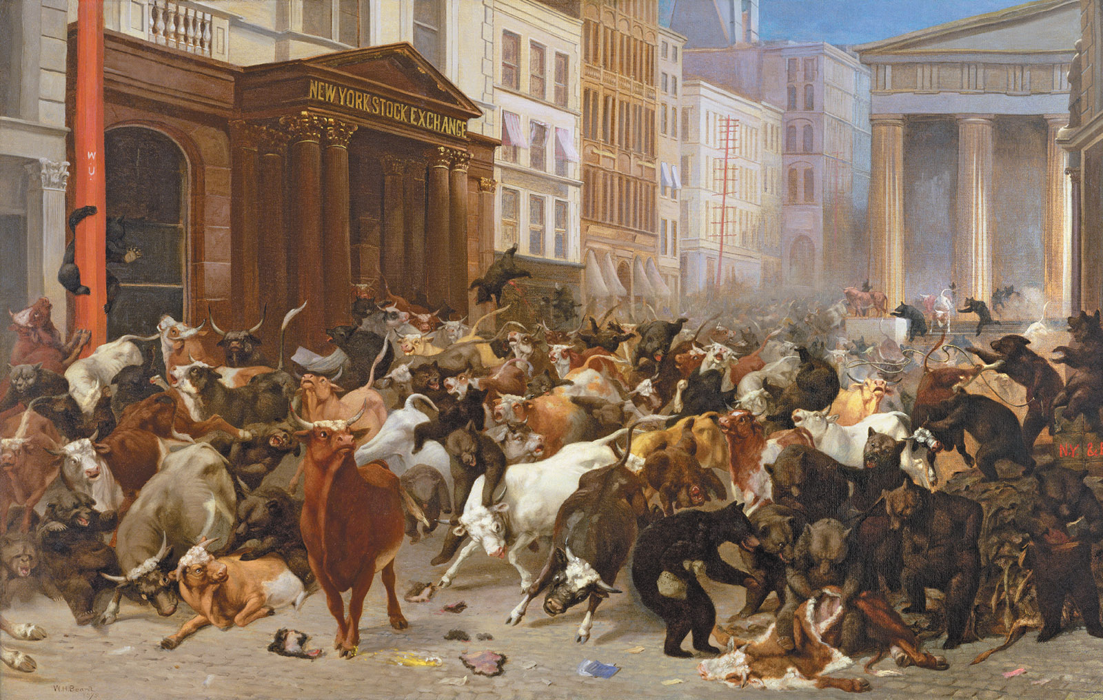 The Bulls and Bears in the Market; painting by William Holbrook Beard