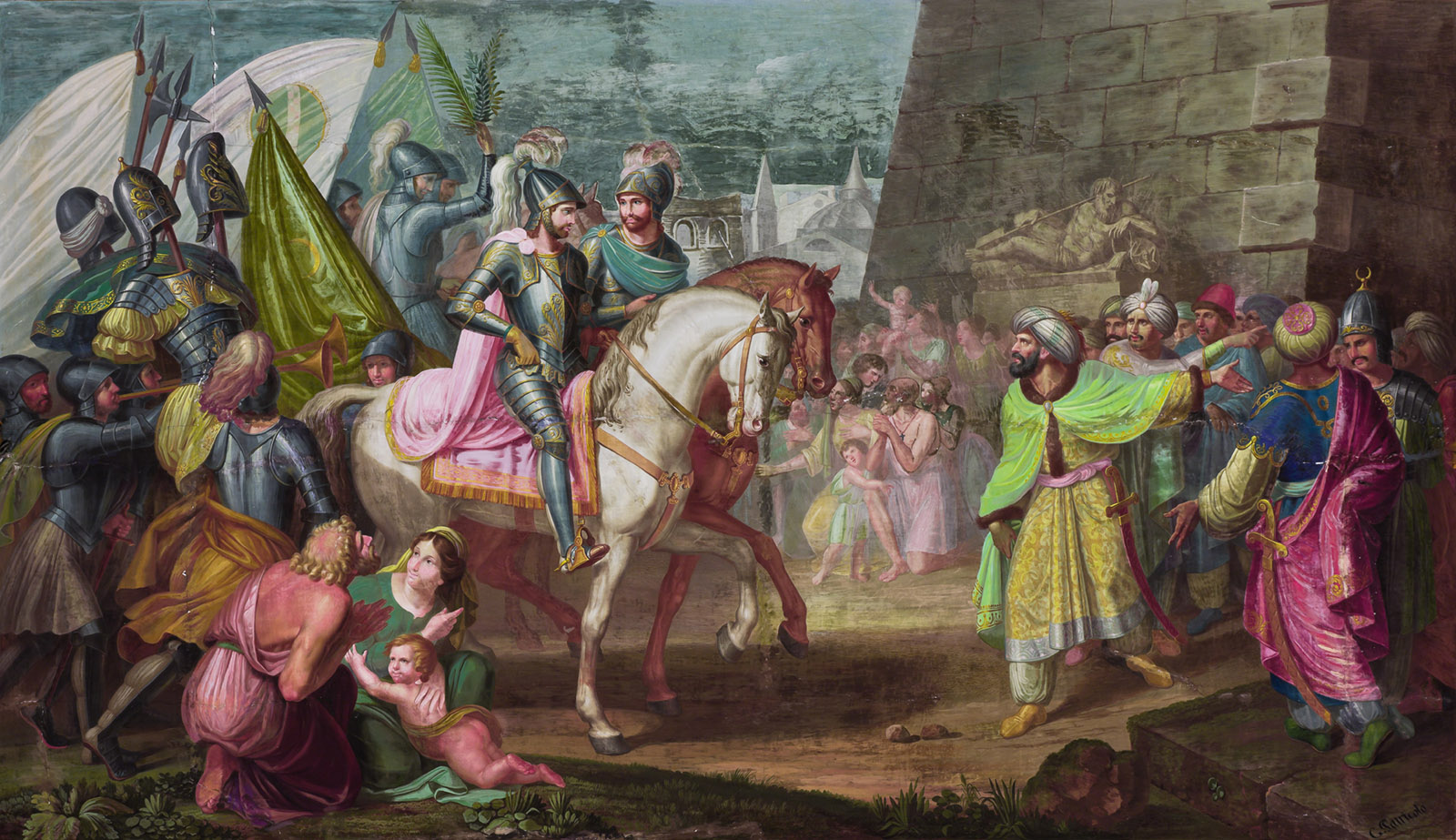 Robert Guiscard and Roger I entering Palermo; fresco by Giovanni Patricolo