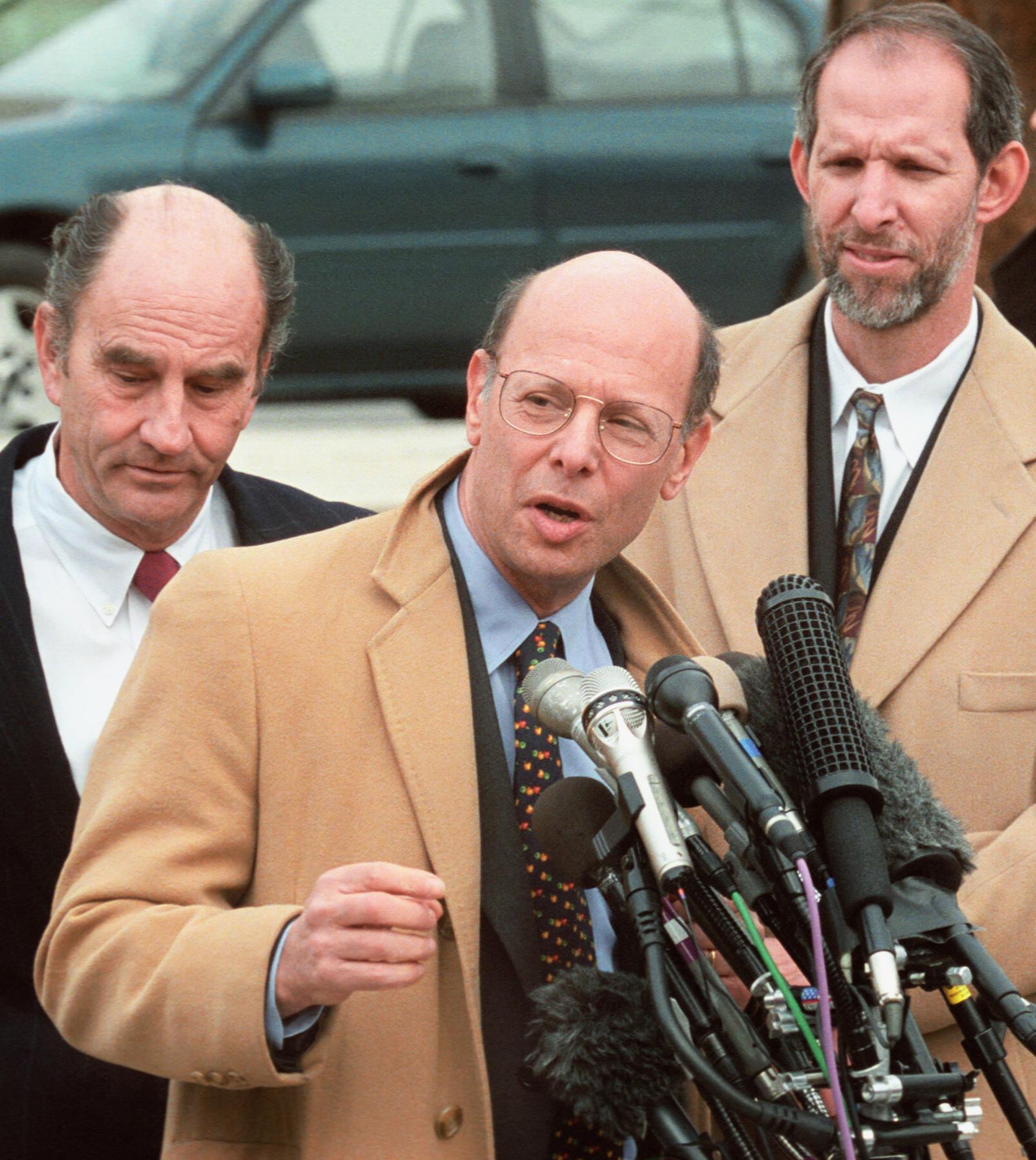 Attorney Michael Ratner speaking to press