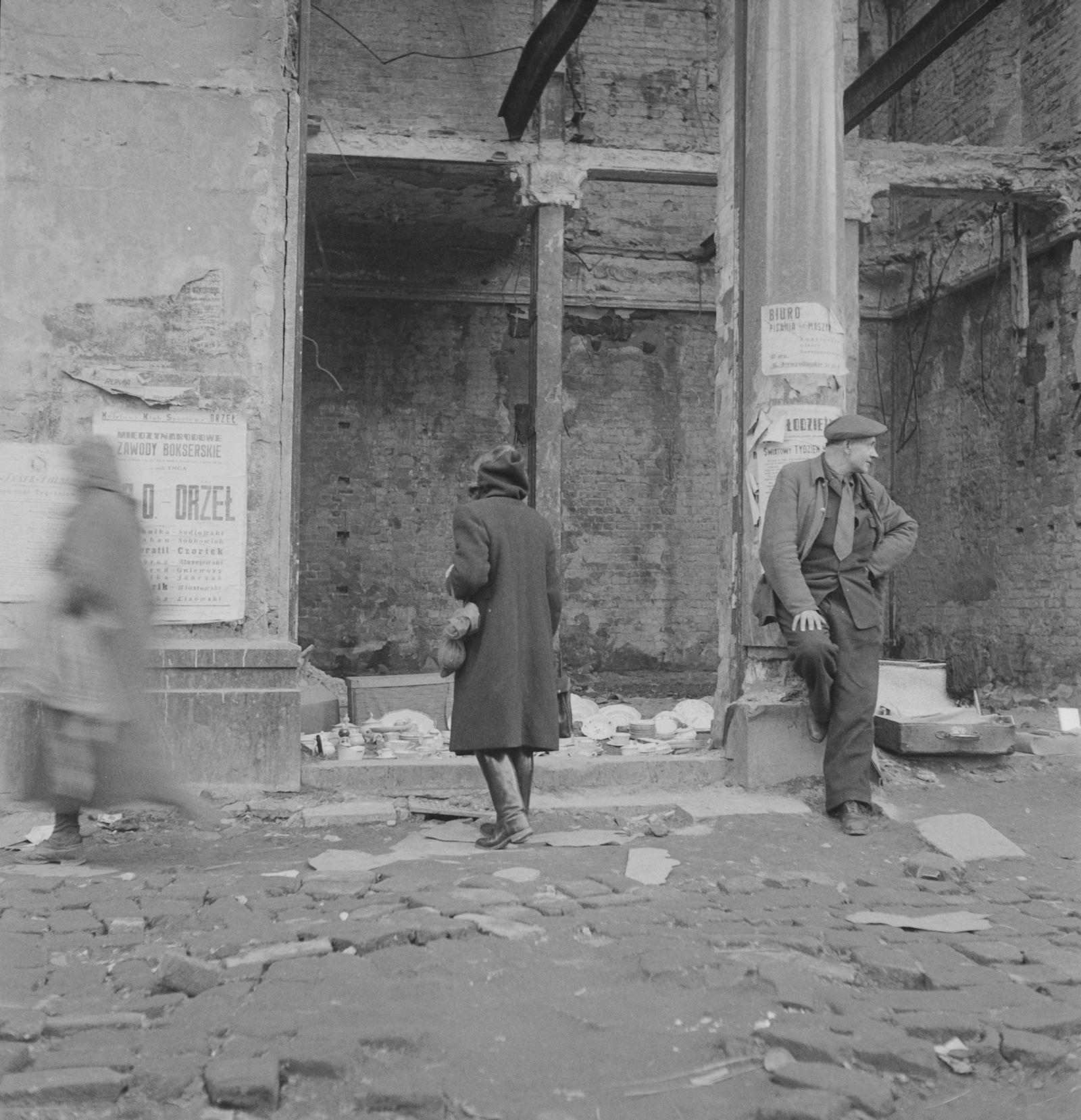 A Warsaw street scene, Poland, April 1946