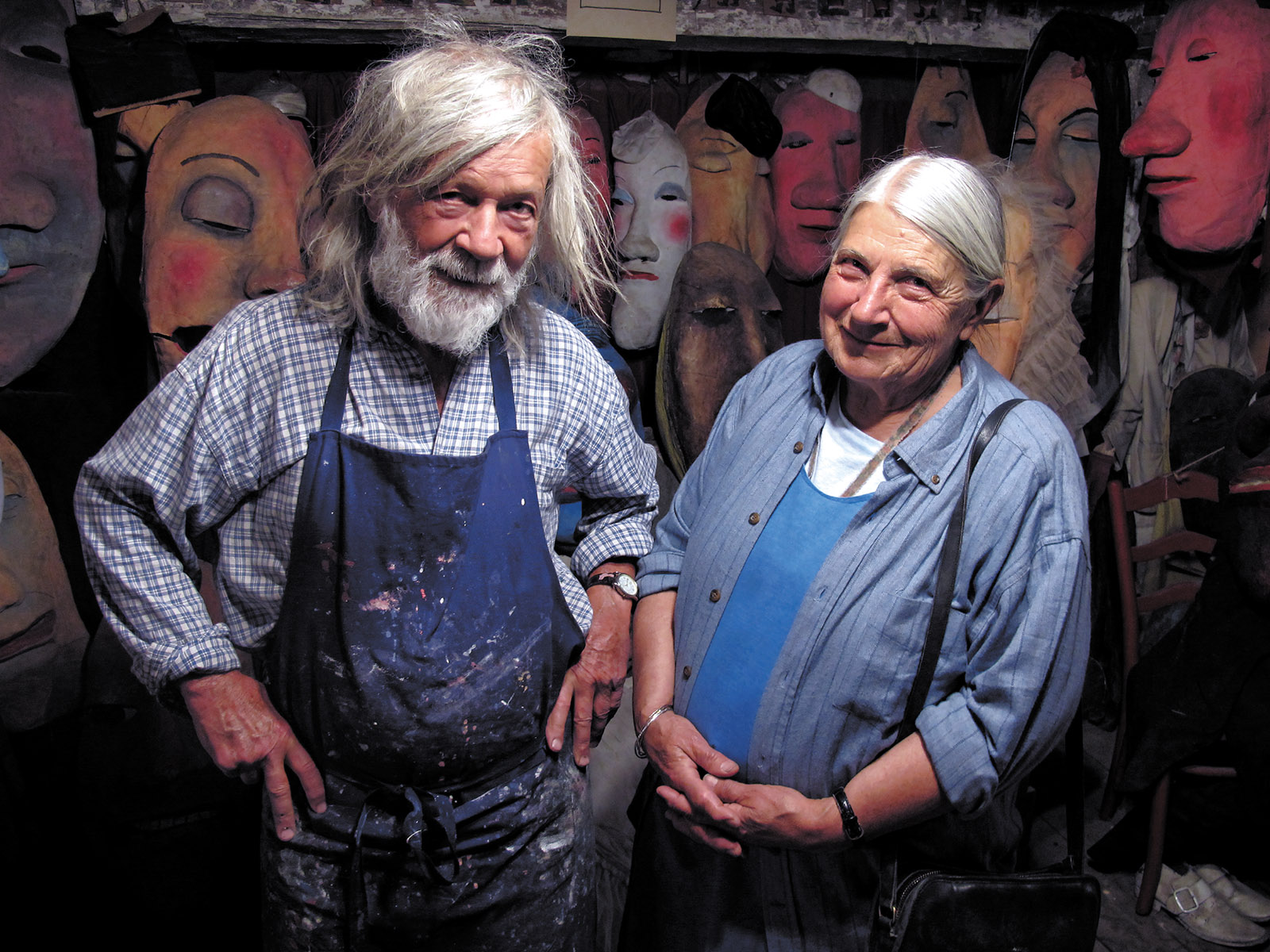 Peter and Elka Schumann at the Bread and Puppet Museum, Glover, Vermont