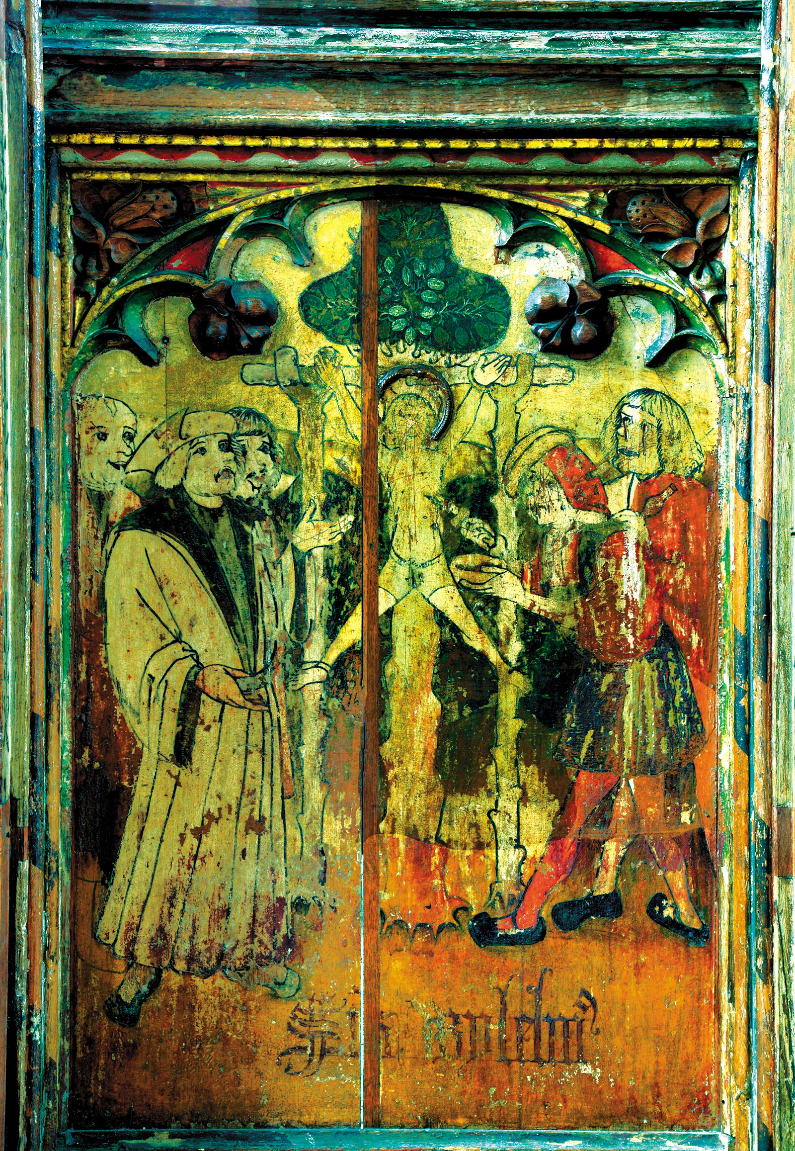 A medieval rood screen depicting Jews torturing and collecting the blood of William of Norwich, Norfolk, England
