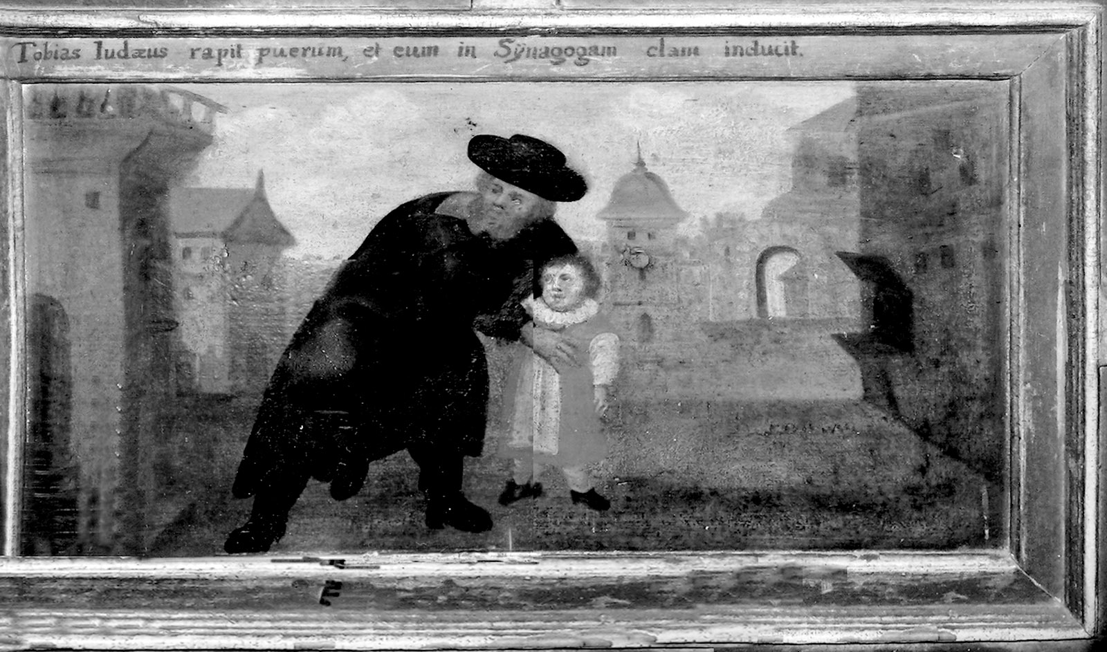 'Tobias the Jew snatches the boy and furtively leads him to the synagogue'; painting from St. Paul's Church, Sandomierz, Poland