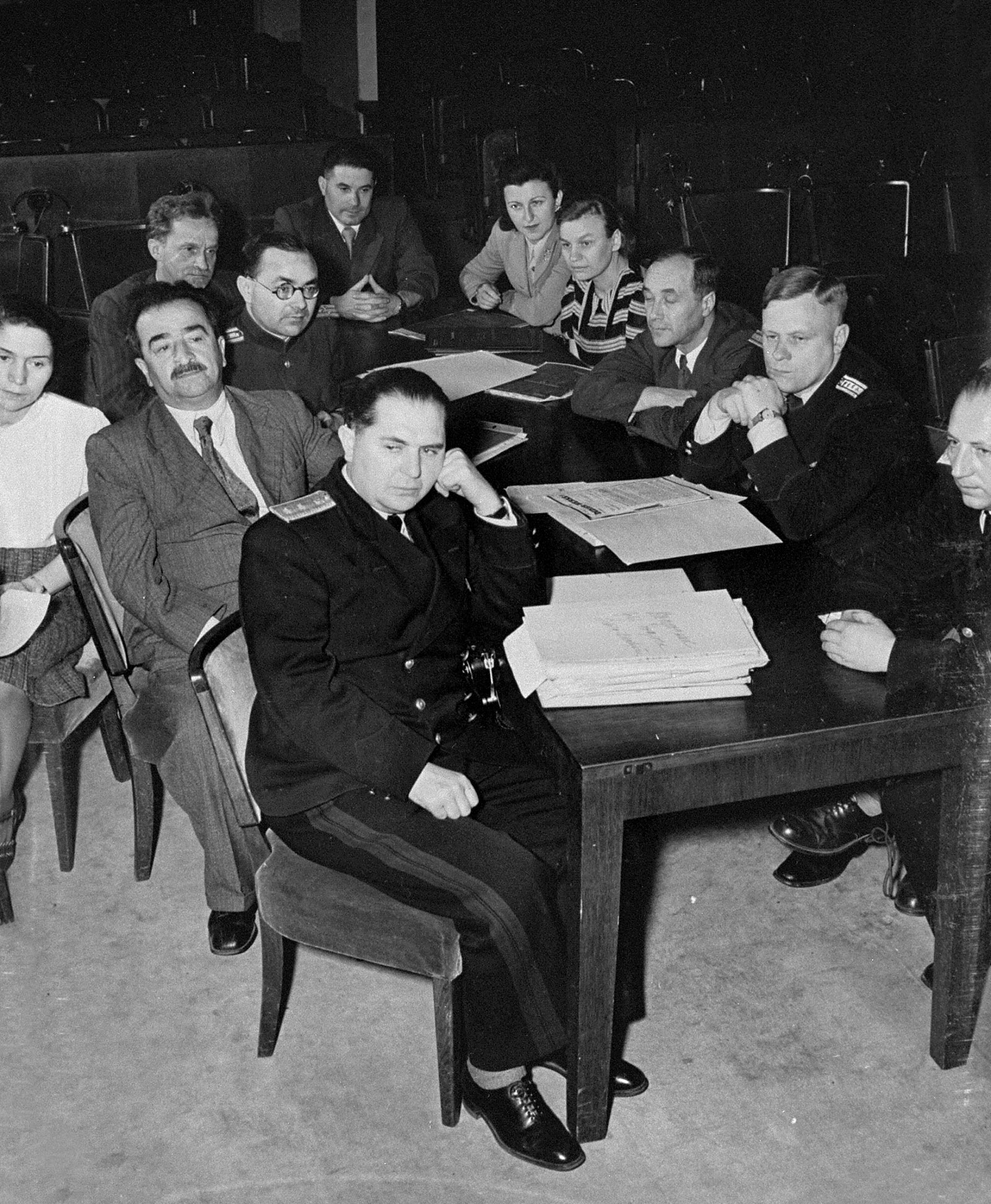 Legal scholar Aron Trainin and chief prosecutor Roman Rudenko with other members of the Soviet prosecution team at the Nuremberg Trial